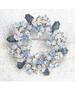 Fabulous Blue & Crystal Rhinestone Wreath Brooc... - $29.95