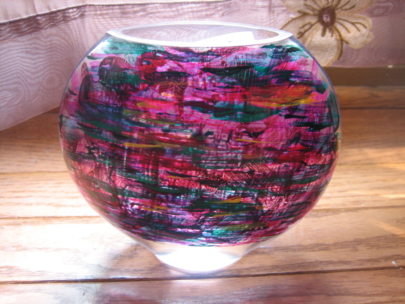 """ Almost Plaid""~Handpainted Elongated Oval Medium Size Magenta Multi Vase"