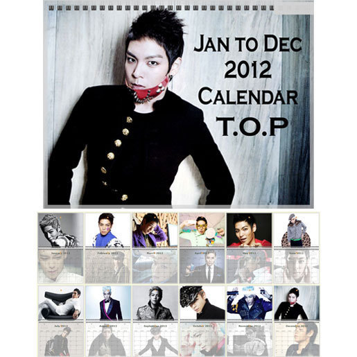 Korea BIGBANG Big Bang T O P TOP Photo Calendar 2012
