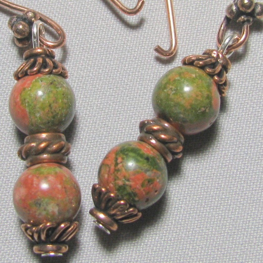 Unakite Copper Earrings Semi Precious Stones