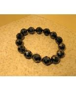 BRACELET GEMSTONE BLACK METALLIC BANGLE New #968 - $10.99