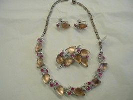 Lisner Pink Frosted Glass Parure Necklace Brooc... - $55.00