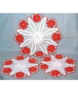 3 vintage Hand Crocheted Doilies Doily Set Whit... - $18.00