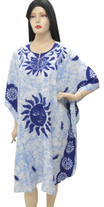 SUN Printed Plus Size Beach Cover Up Kaftan Caftan Robe
