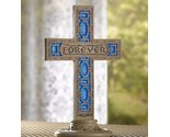 Buy Decorative Plant Stands - Cross Statue Stand Forever Bible Quote Stained Glass