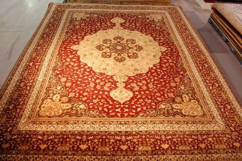 12x15 PERSIAN HAJI JA LILI RUG LARGE BURGUNDY MEDALLION