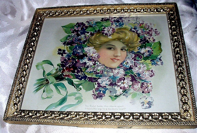 1908 Antique Ornate Gesso Frame-Stunning Girl in Violets Bouquet