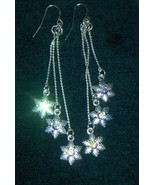 Chandelier Snow Flake Earrings Silver tone with... - $5.99