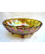 Indiana Carnival Glass Fruit Bowl Amber Iridescent - $18.74