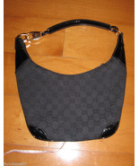 Black Gucci Monogram Hobo Hanbag with Leather T... - $262.90