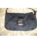 FENDI Black Satin Leather Trim Baguette Handbag... - $146.50