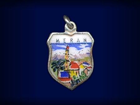 Vintage travel shield charm, Meran (Merano), Italy