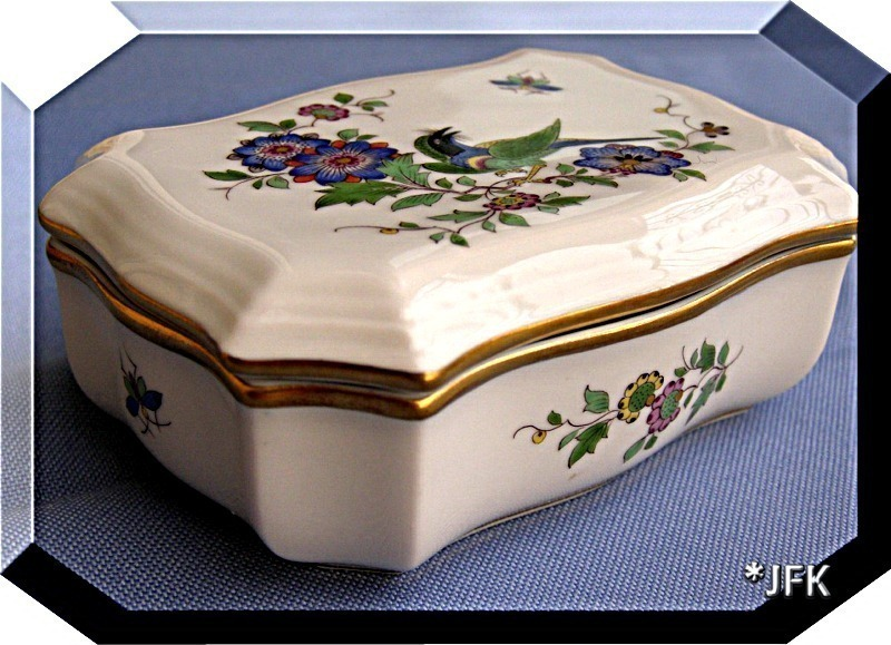 Meissen China Box Paradise Bird Flowers Germany VTG