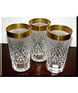 Cut Glass Crystal highball free blown Diamond hand cut 24K Gold Rim 3 pcs - $198.00