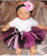 6-9 month baby tutu black &amp; hot pink w flower &amp; headband
