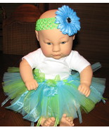0-3 month baby tutu blue &amp; lime green w headband and flower