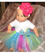 3T tutu pink green and blue with headband and flower