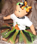 3-6 month halloween baby tutu w headband, bow & onsie