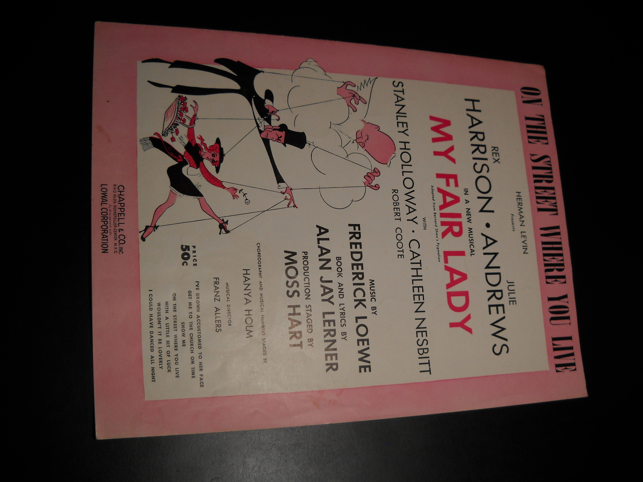 Sheet Music On The Street Where You Live from My Fair Lady 1956 Rex Harrison