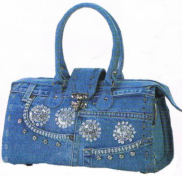Denim Handbag with Bling