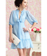 SALE. Summer Blue. Soft Feminine Deep V Neck Ri... - $87.90