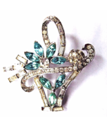 Art Deco Basket Brooch Baguette Clear Aqua Rhin... - $30.00