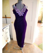 Vintage 80s? dress gown purple velvet sequin wi... - $28.00