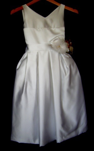 FLOWER GIRL DRESS girls 7 white satin wedding formal Joan Calabrese NWT