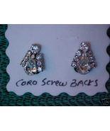 Antique Vintage Silver Rhinestone CORO Screw-On... - $6.99