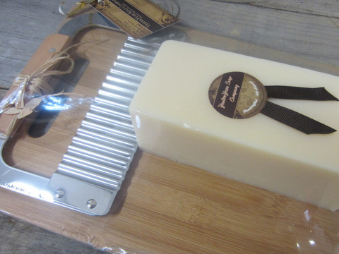 A Loaf of 'Lavender' Soap with a Cutter & Cutting Board