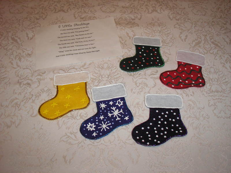 Five Little Stockings felt board set  story card like