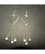 Earrings Pair Hearts Silver Stones For Pierced ... - $6.00