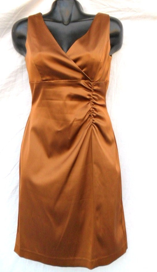 Ladies Fashion Vintage Wiggle Dress Golden Bronze 8P Womens