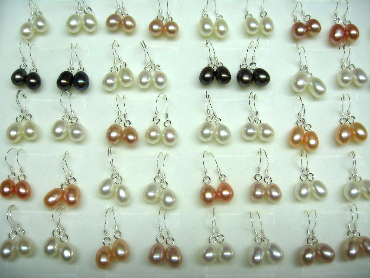 wholesale 40 pairs of genuine cultured drop pearl 925 silver hook earring