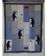 Handmade Penguin Star Appliqued Blue Quilted Th... - $110.00