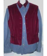 Denim Shirt Size 10 and Dark Red Velvet Vest Si... - $14.99