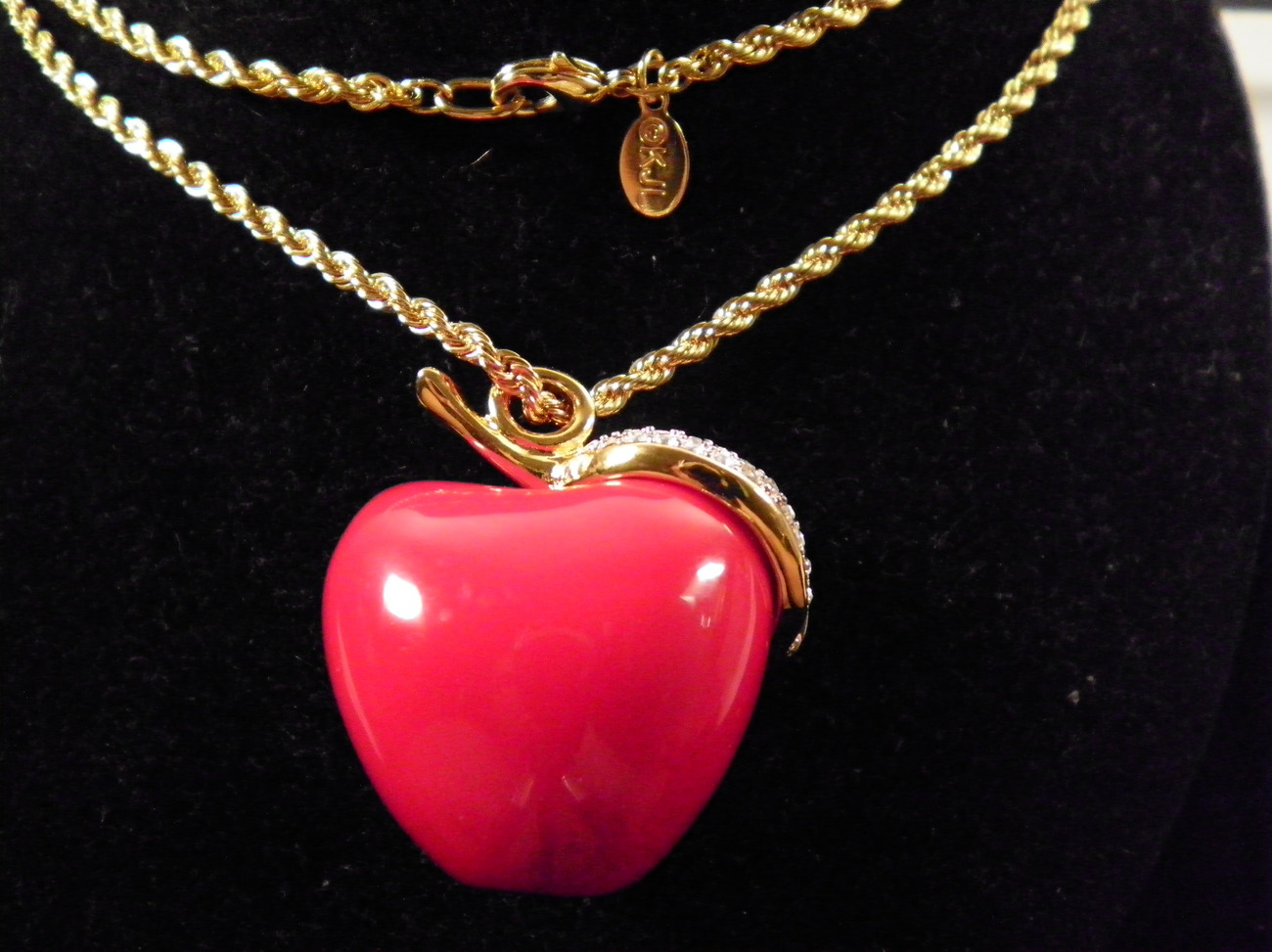 Signed KJL Kenneth Jay Lane Red Apple & Pave Crystals Leaf