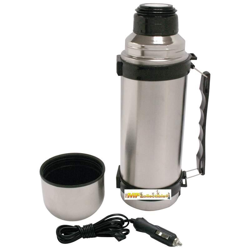 "Executive NEW ""HEATED"" 12v Stainless Steel 34oz (1L) Double Wall Thermos Bottle"