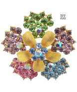 Colorful Gold Crystal Flower Brooch - $11.50
