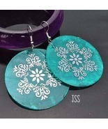 Aqua Marine with Silver Design Round Chic Earrings - $11.49