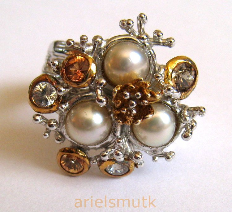 Natural Pearls Sapphires Bird Nest 925 Sterling Silver Cocktail Ring Size US 7