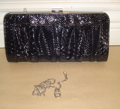 Black Imitation Snake Evening BAG HANDBAG Purse Clutch