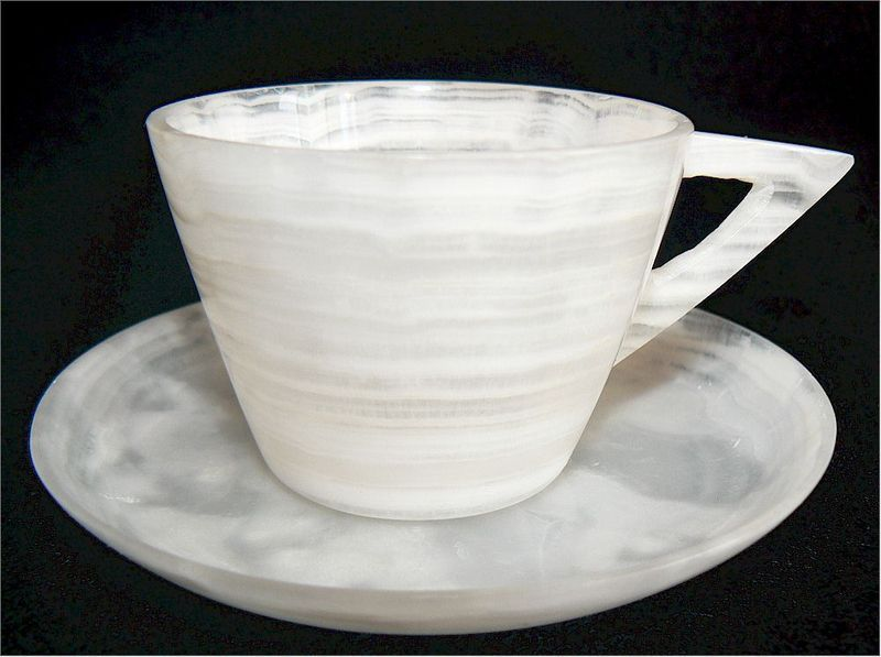 VINTAGE EGYPTIAN ALABASTER DEMITASSE DEMI TEA CUP & SAUCER TEACUP