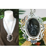Vintage Mexico Sterling Silver Face Pendant Obs... - $84.95