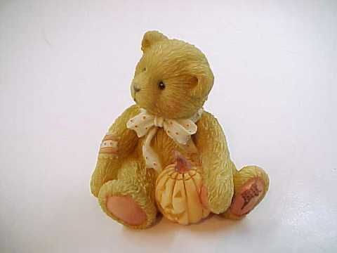 "Cherished Teddies ""Oscar"" Halloween Bear with Pumpkin"