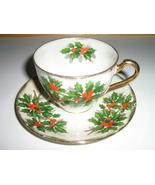 Ucagco China Christmas Cup & Saucer - Holly Lea... - $20.00