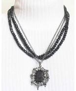 Cut Glass,Crystal, Black Plastic Necklace Baroque  - $24.95