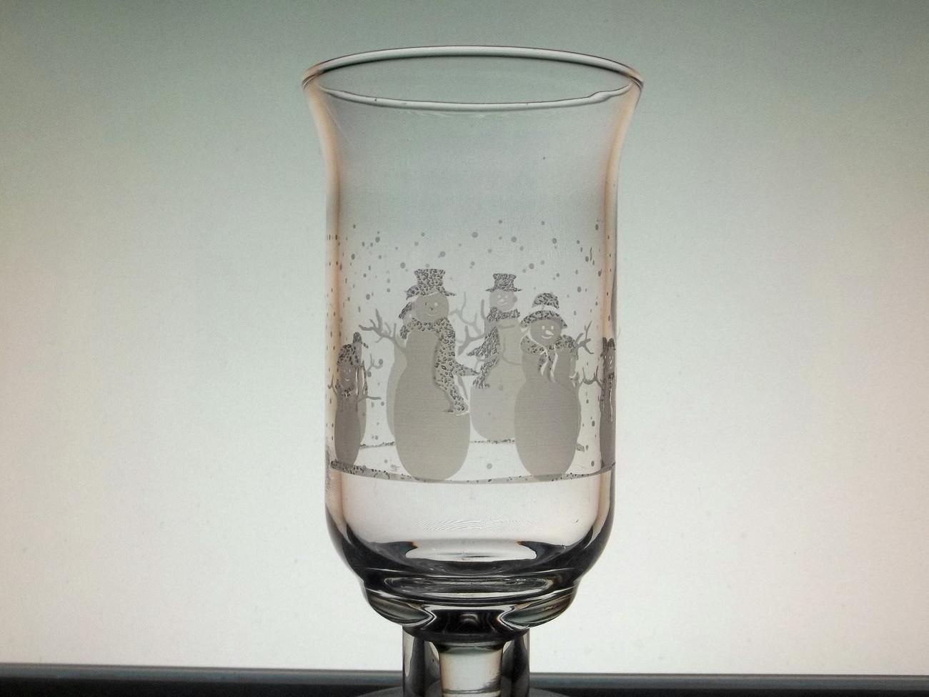 Home Interiors Peg Votive Holder Cup Glass Snowman Family