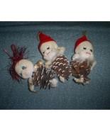 Three Vintage Pinecone Elf Christmas Ornaments,... - $11.00