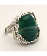 Wire Wrap Green/White Sardonyx 925 Silver Ring  - $72.00